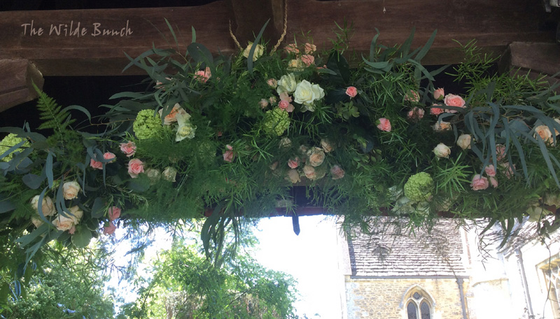 Wedding Flowers ; Garland on church gate