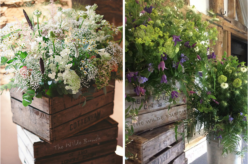 Cratestacks and milk churn, Rustic wedding flowers