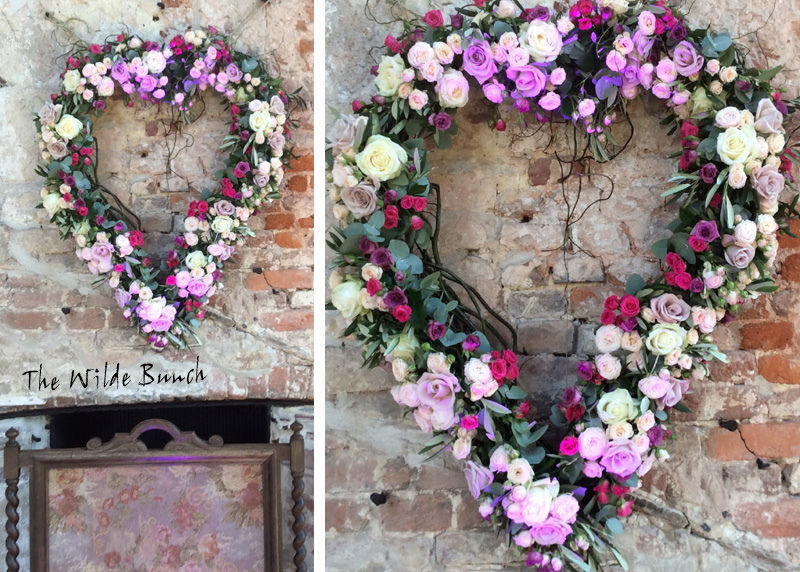 Wedding Flowers, Heart shaped floral Garland