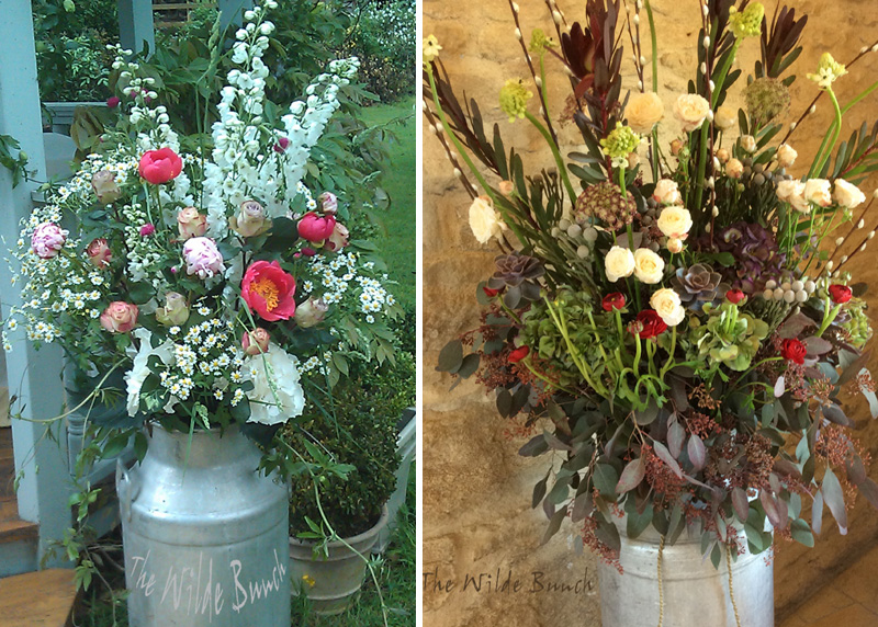 Wedding Flowers : Summer & winter Milk churn designs