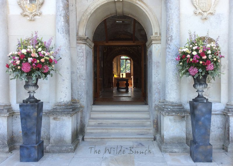 Plinths & Urns, Classic Wedding flower designs at Lulworth Castle