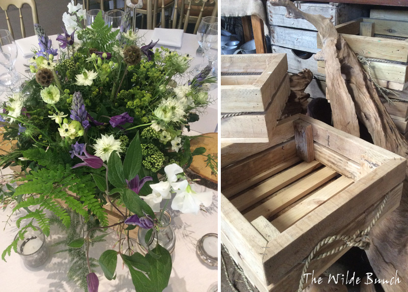 Rustic wooden boxes for wedding flowers