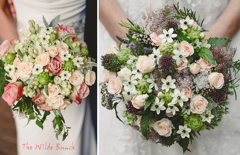 hand tied wedding bouquets by The Wilde Bunch