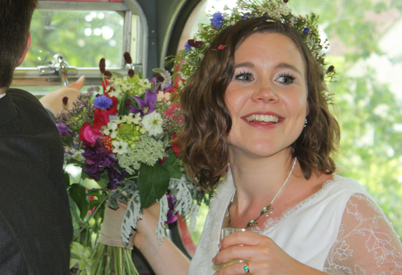 Wedding flowers Bristol: Summer bouquet and floral crown