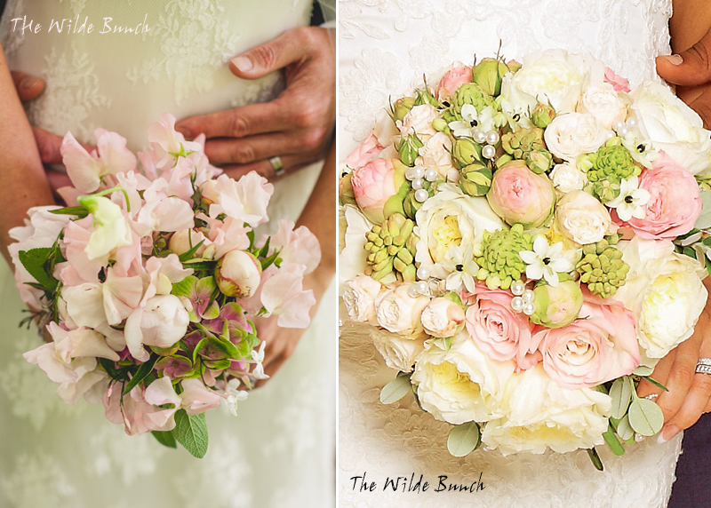 Summer wedding bouquets in soft pastel colours