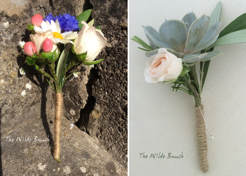 Wedding Buttonholes for summer: Blue Cornflowers, Rose and berries. Pale Rose and Succulent