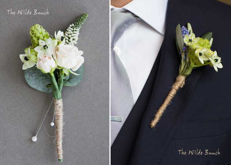 Classic wedding Buttonholes using chintz with brown twine stems