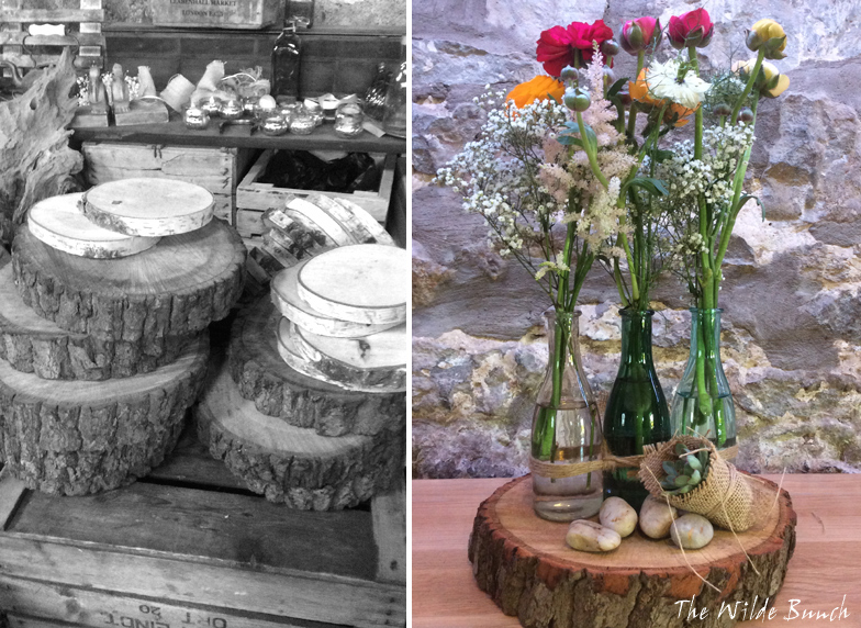 The Wilde Bunch barn is packed with log slices from 6 inch Beech thins to large oak slices. The perfect wedding props for wedding tablecentres