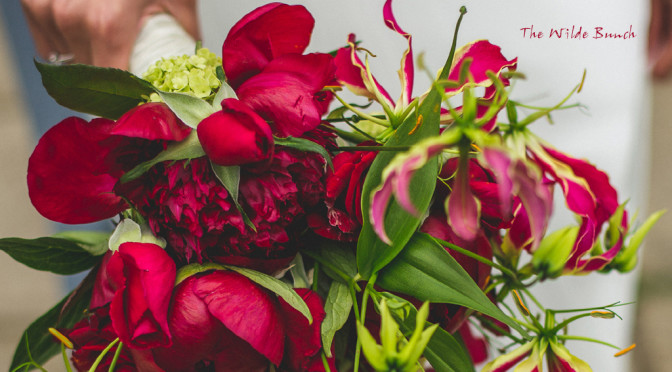 red flowered wedding bouquets