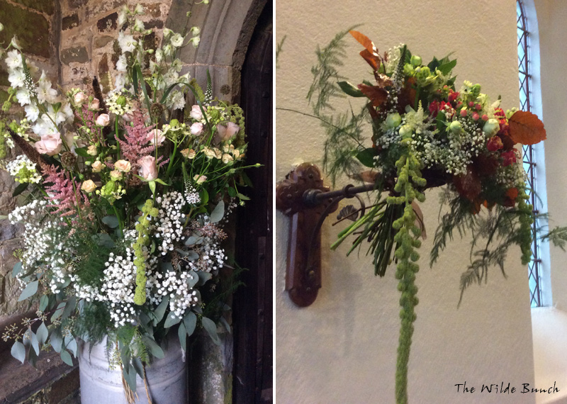 Rustic Milk Churn design in Church Porch and Wall mounted Church Wedding Flower design